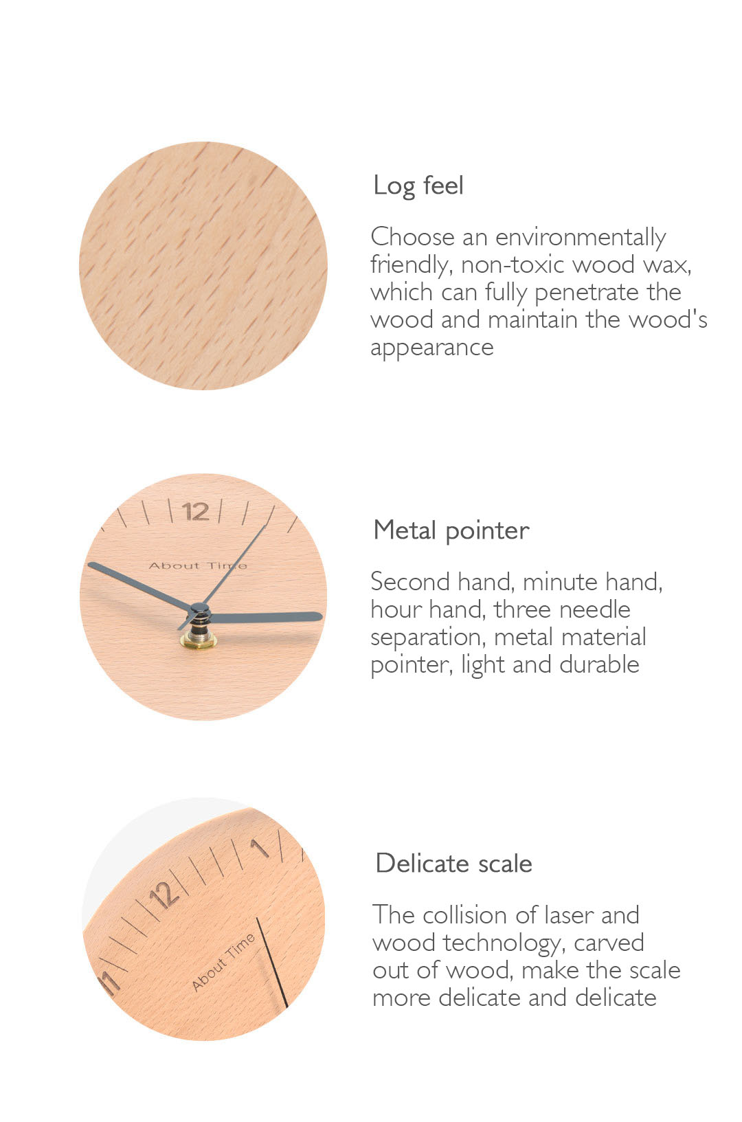 Xiaomi About Time Mute Logs Wooden Simple Wooden Metal Pointer Wall Clock Home Decoration