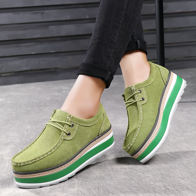 Women Flats Suede Lace Up Platforms Thick Heel Casual Shoes