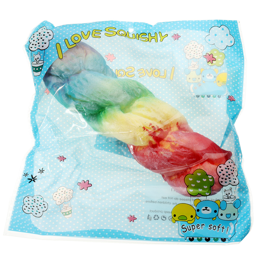 Rainbow Twist Bread Squishy 21*5CM Slow Rising With Packaging Collection Gift Soft Toy