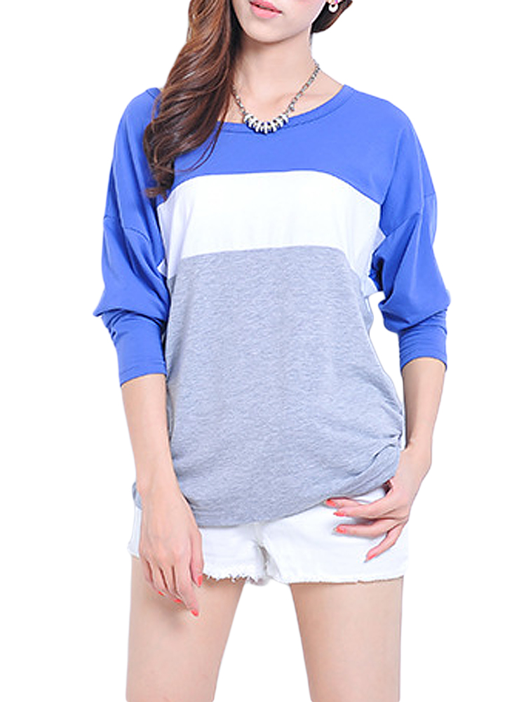 Casual Women O Neck Batwing Sleeve Color Block Patchwork T-Shirt