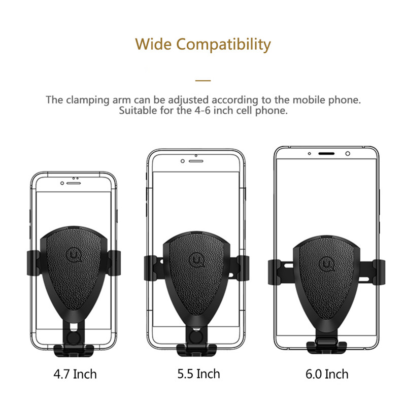 USAMS Aroma Gravity Auto Lock PU Leather Car Mount Air Vent Holder Stand for iPhone Mobile Phone