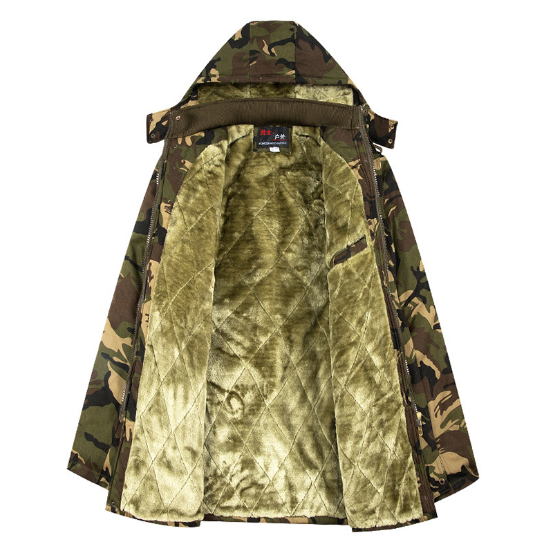 Mens Military Outdoor Camouflage Thick Fleece Warm Parka