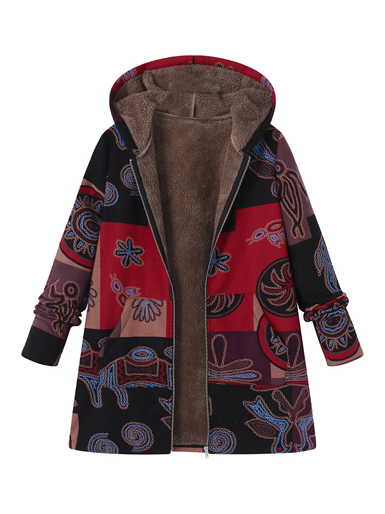 Vintage Women Printed Hooded Pockets Coats