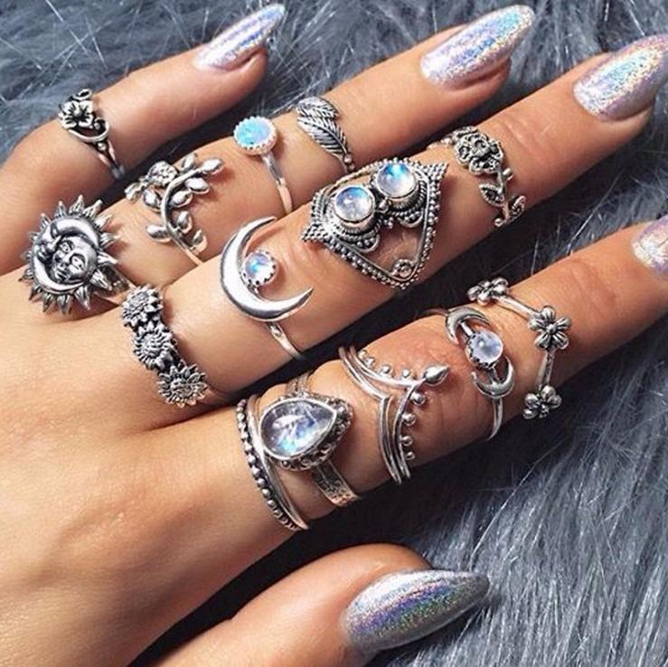 14 Pieces Rhinestone Ring Kit For Women