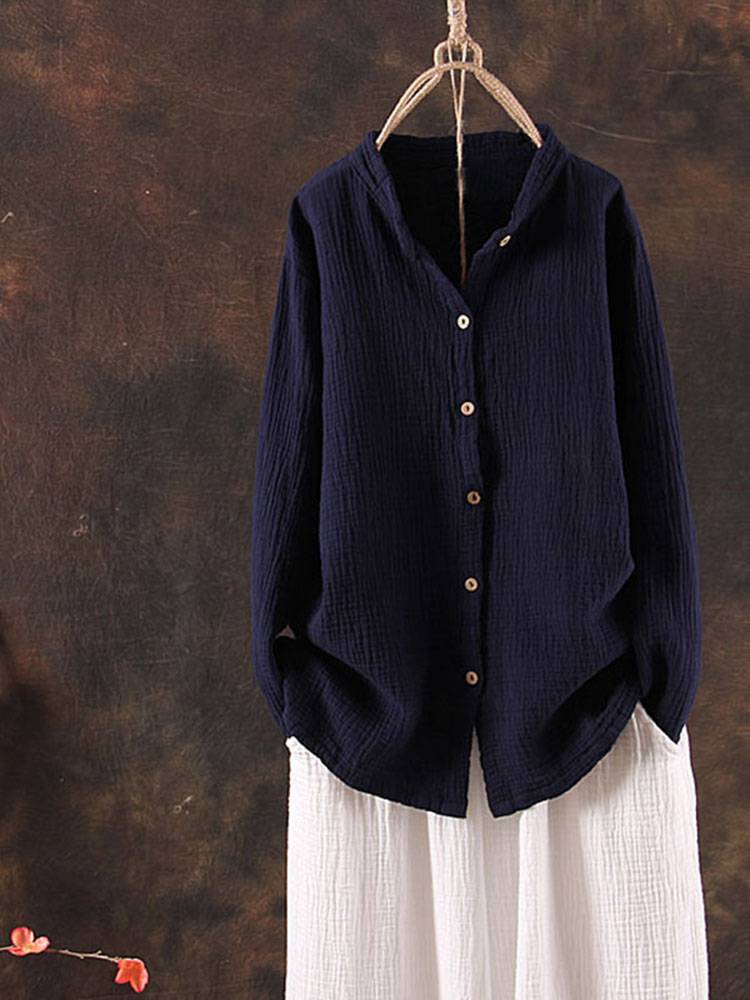 Casual Women Solid Color Stand Collar Long Sleeve Blose