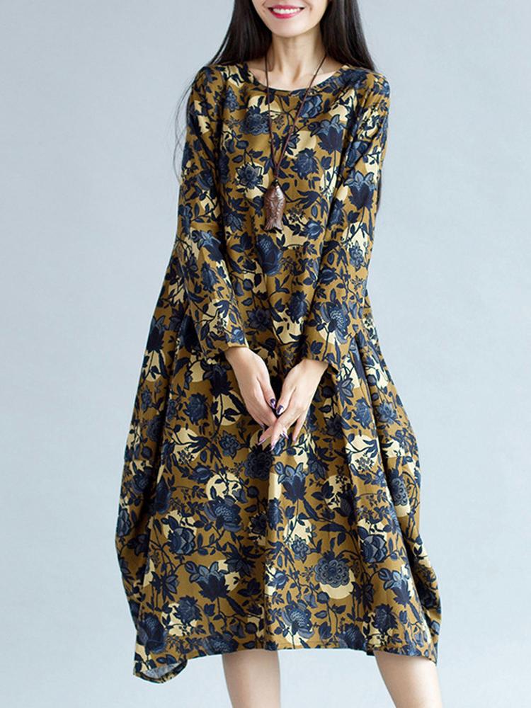 Vintage Women Printing Floral Long Sleeve Loose Dress