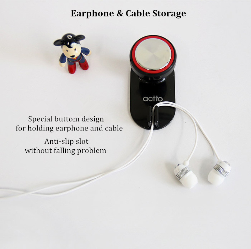 ACTTO Universal Dual Hook Strong Adhesive Adjustable Earphone Holder Headset Stand Hook