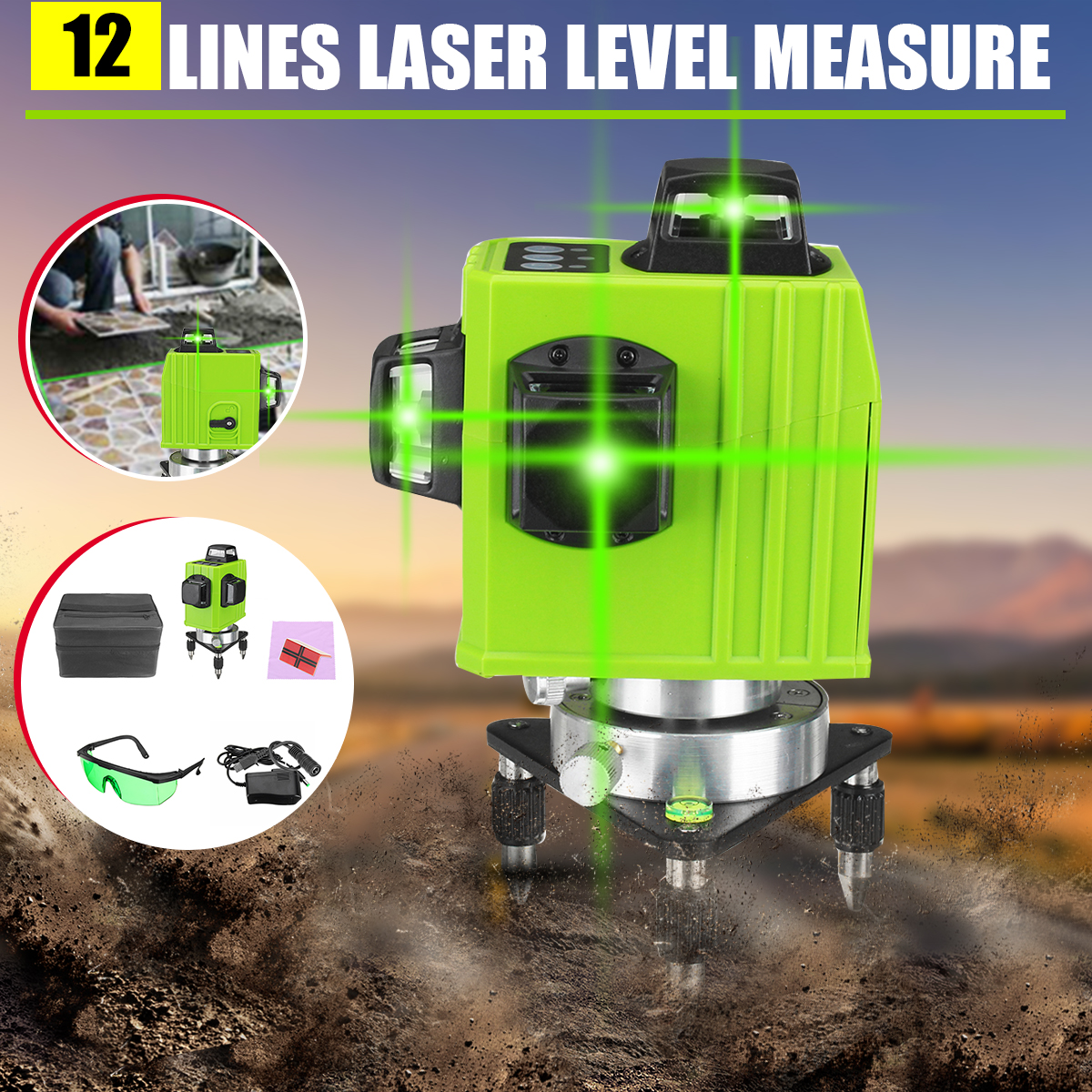 3D Green 12 Line Laser Level Self Leveling Outdoor 360° Cross Measure Tool