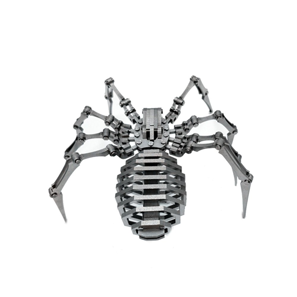 Steel Warcraft 3D Puzzle 64pcs DIY Assembly Spider Toys DIY Stainless Steel Model Building Decor 12.5*12.5*3.5cm