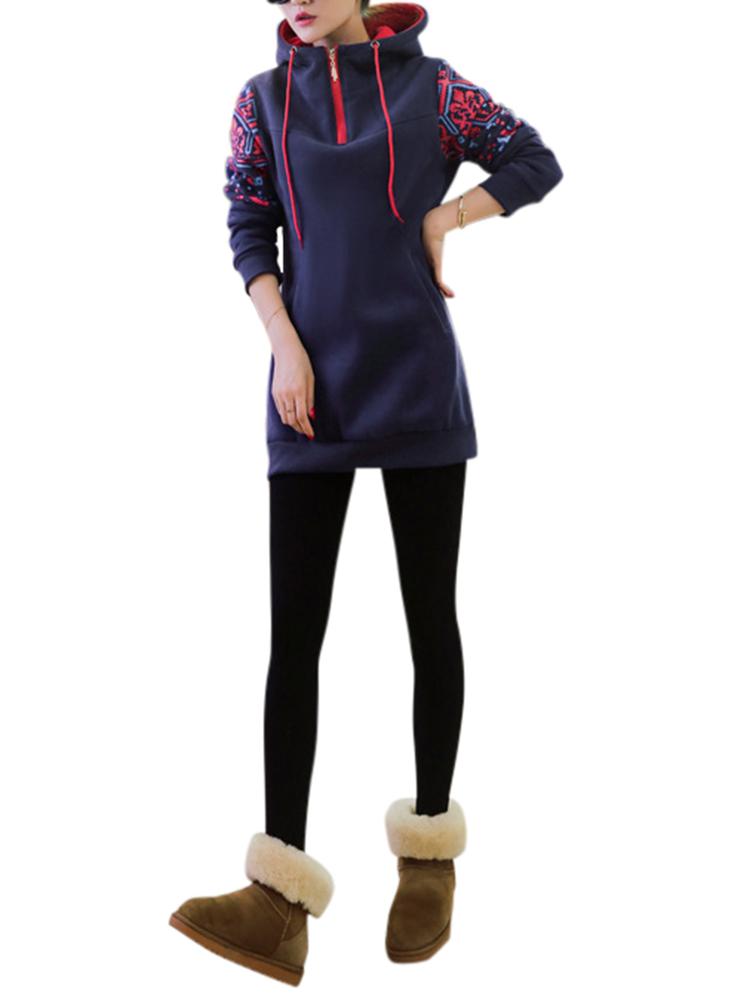 Vintage Casual Women Long Sleeve Hooded Outwear Suit Thick Hoodies