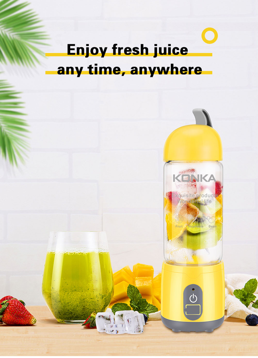 KONKA KJ-60U02 Portable USB Charging Electric Fruit Juicer Household Milkshake Blender 420ml Mix Cup
