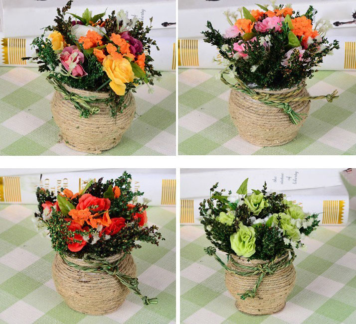Hemp Roses Simulation Flower Plant Potted Suit Wedding Dress Decoration