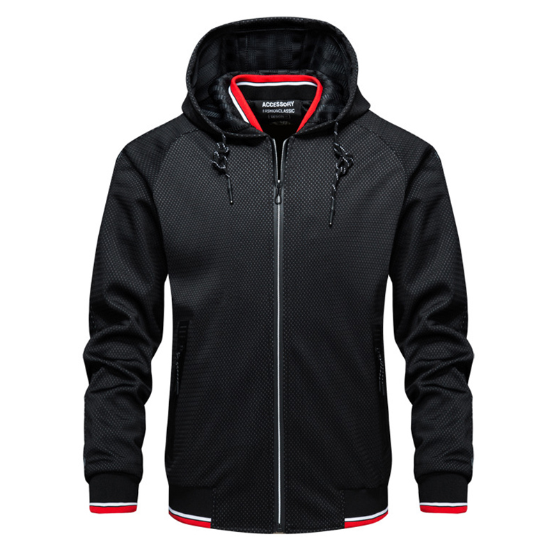 Mens Contrast Color Stylish Drawstring Casual Hooded Jacket