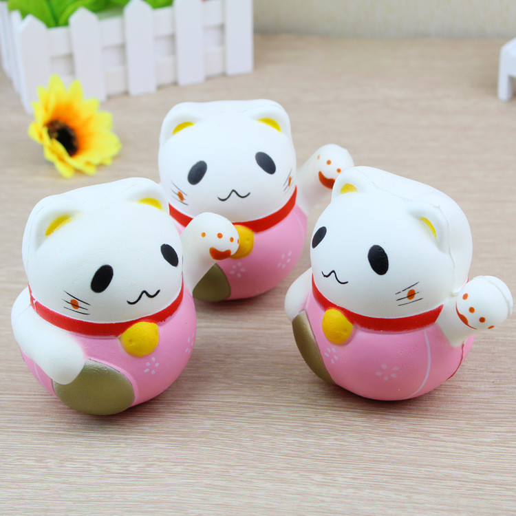 Squishy Jumbo Lucky Cat 10cm Fortune Plutus Cat Slow Rising Gift Collection Decor Toy