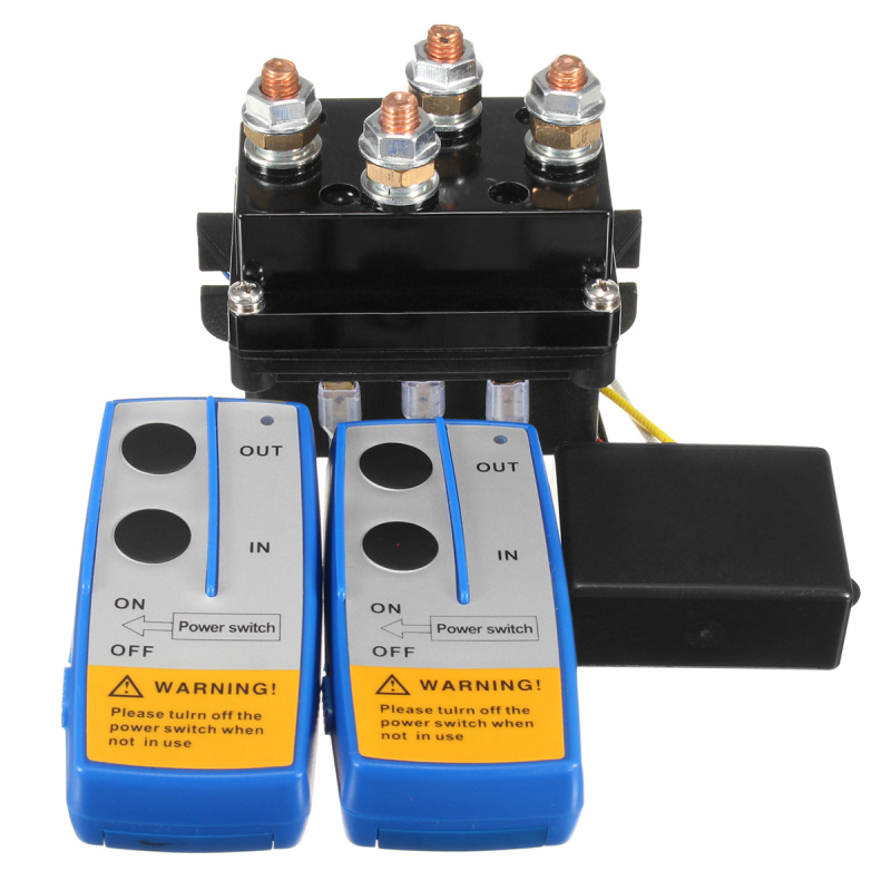 12V 500Amp HD Electric Capstan Contactor Winch Control Solenoid Twin Wireless Remote Recovery 4x4
