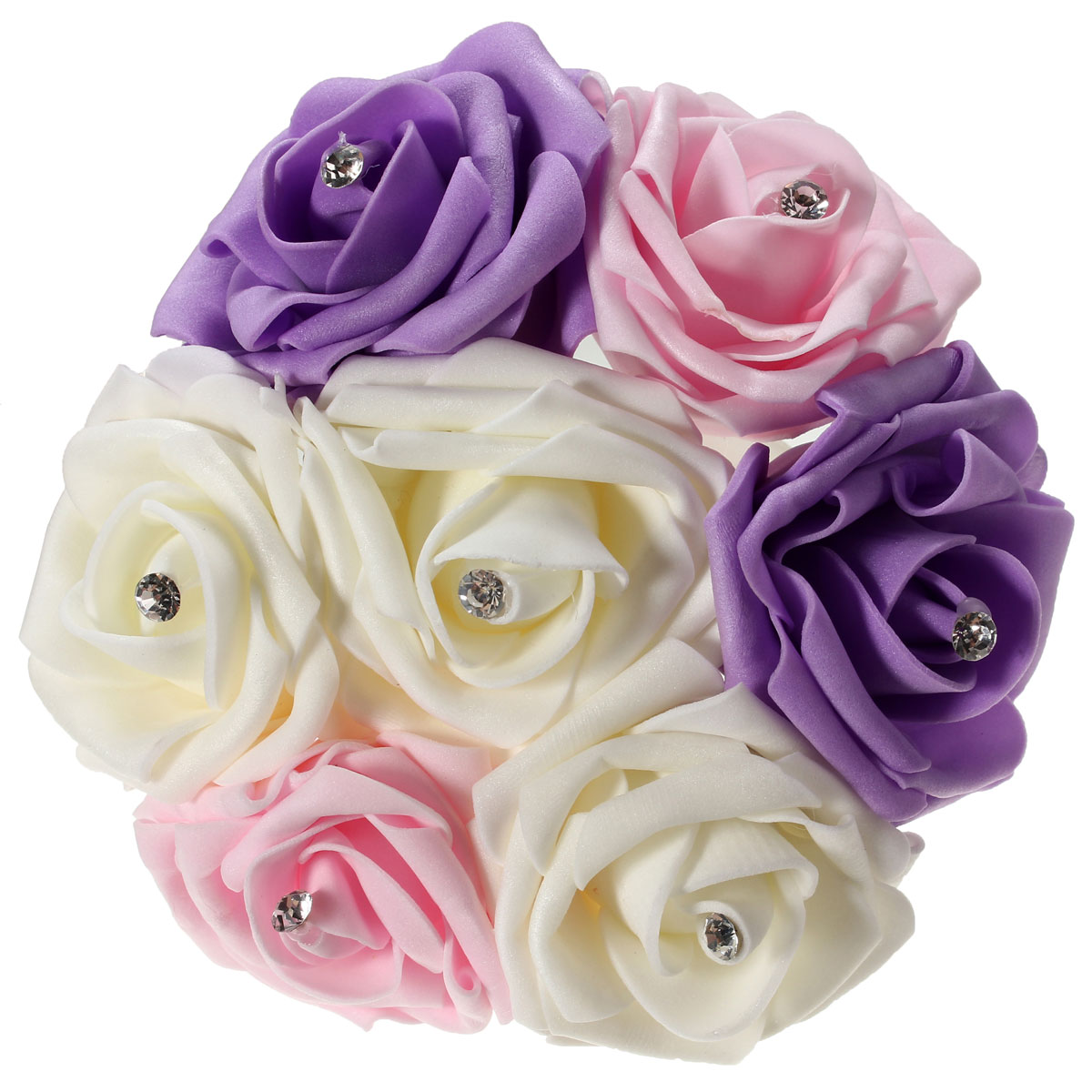 7 Heads Colourfast Foam Roses Crystal Artificial Flower Home Wedding Bride Bouquet Party Decoration