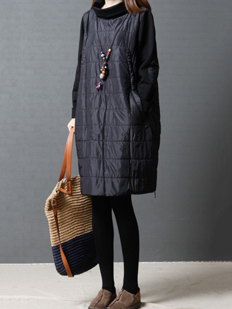 Casual Patchwork Turtleneck Padded Dress