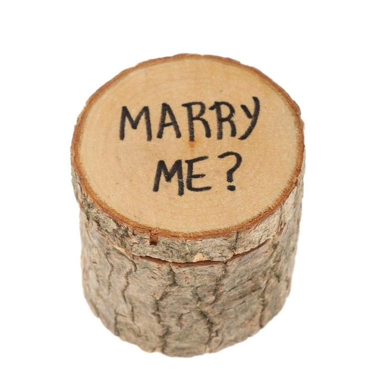 Phenovo Marry Me Shabby Chic Rustic Wedding Ring Pillow Bearer Box Wooden