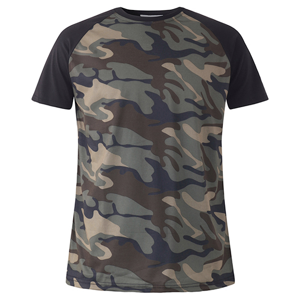 Summer Leisure Fashion Camouflage T-shirt Men's Raglan Sleeve Short Sleeve Tops Tees