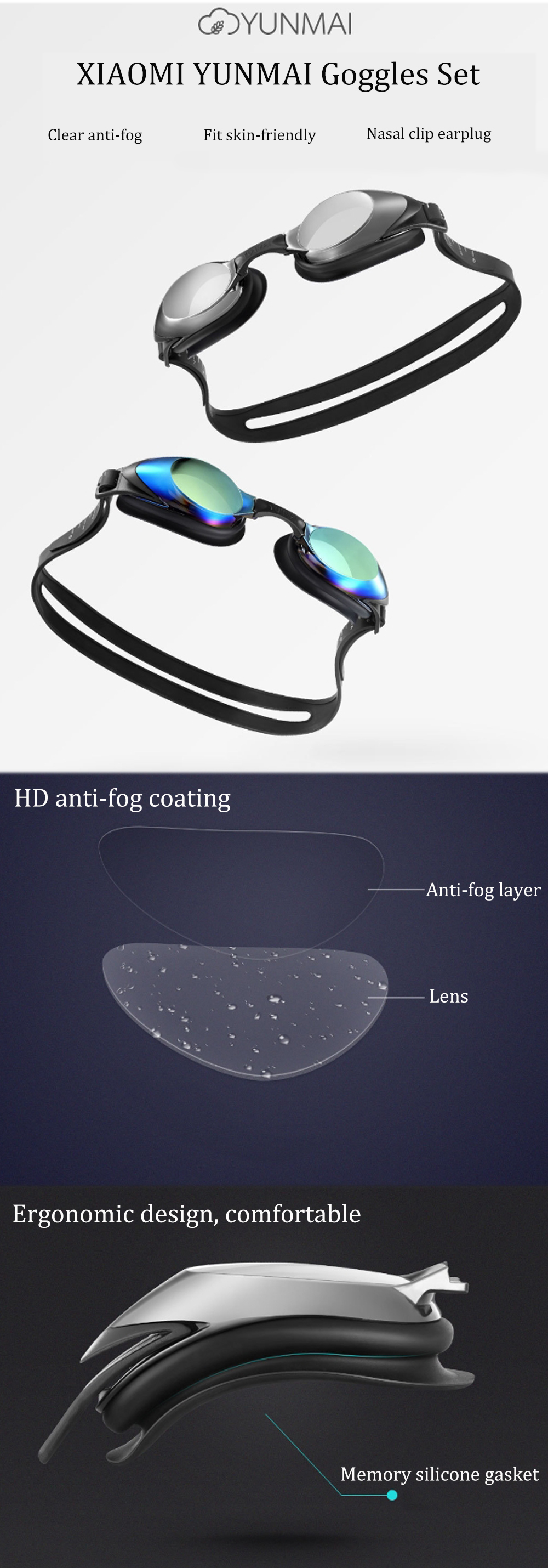 Xiaomi Yunmai Swimming Goggles Set HD Anti-fog Nose Stump Earplugs Silicone Swimming Glasses