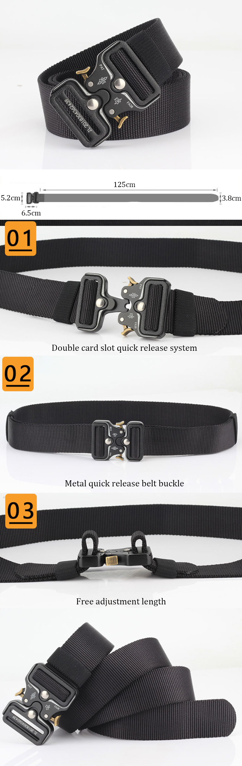 125cm AWMN S05-1 3.8cm Tactical Belt Quick Release Buckle Outdoor Hunting Camping Adjustable Nylon Belts