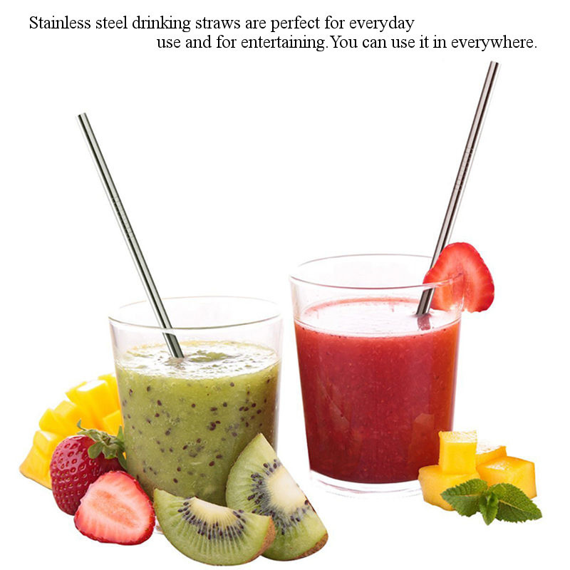 4 PCS Stainless Steel Drinking Straw with Cleaning Brush Party Tableware Straw Set Straight Shape