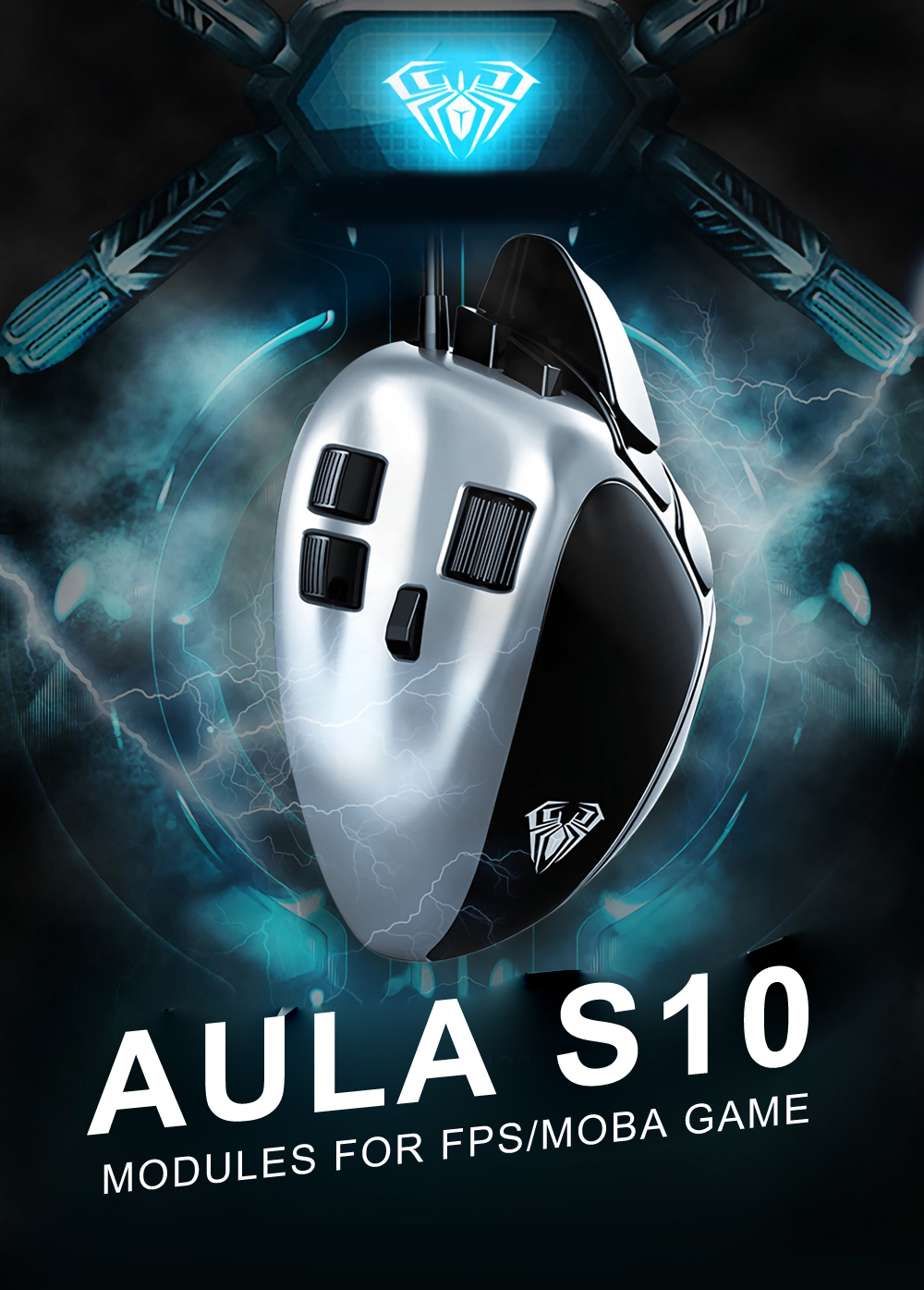 AULA S10 4000DPI Adjustable Module Structure Optical Gaming Mouse for FPS/MOBA Game