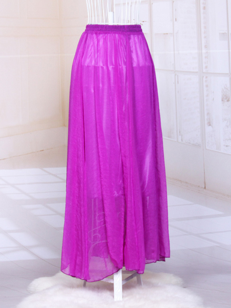 12 Colors Casual Women Pleated Elastic Waist Pure Color Beach Maxi Skirts
