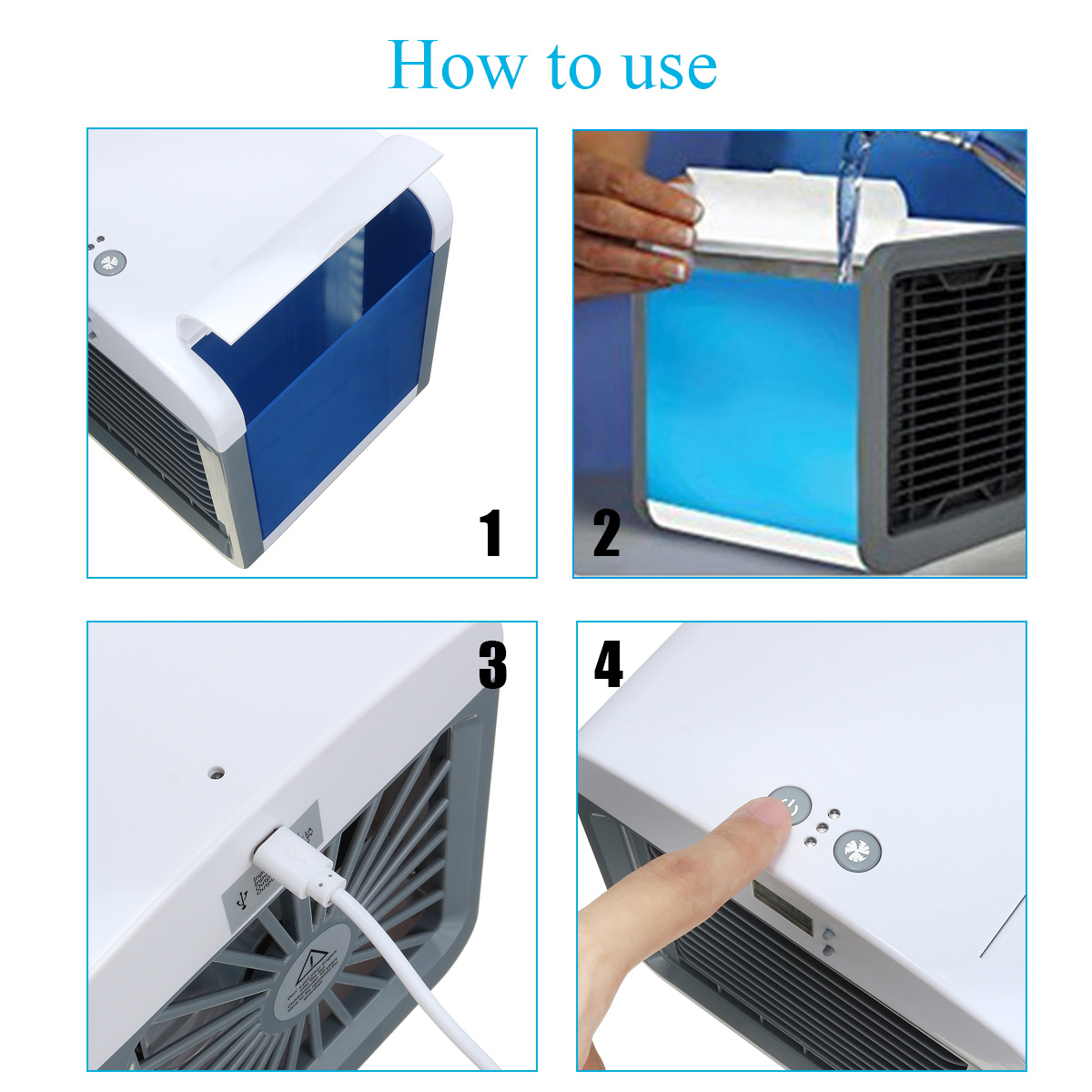 Personal Air Conditioner Cooler with Humidifier USB Mini Portable Cooling Fan 3 speed