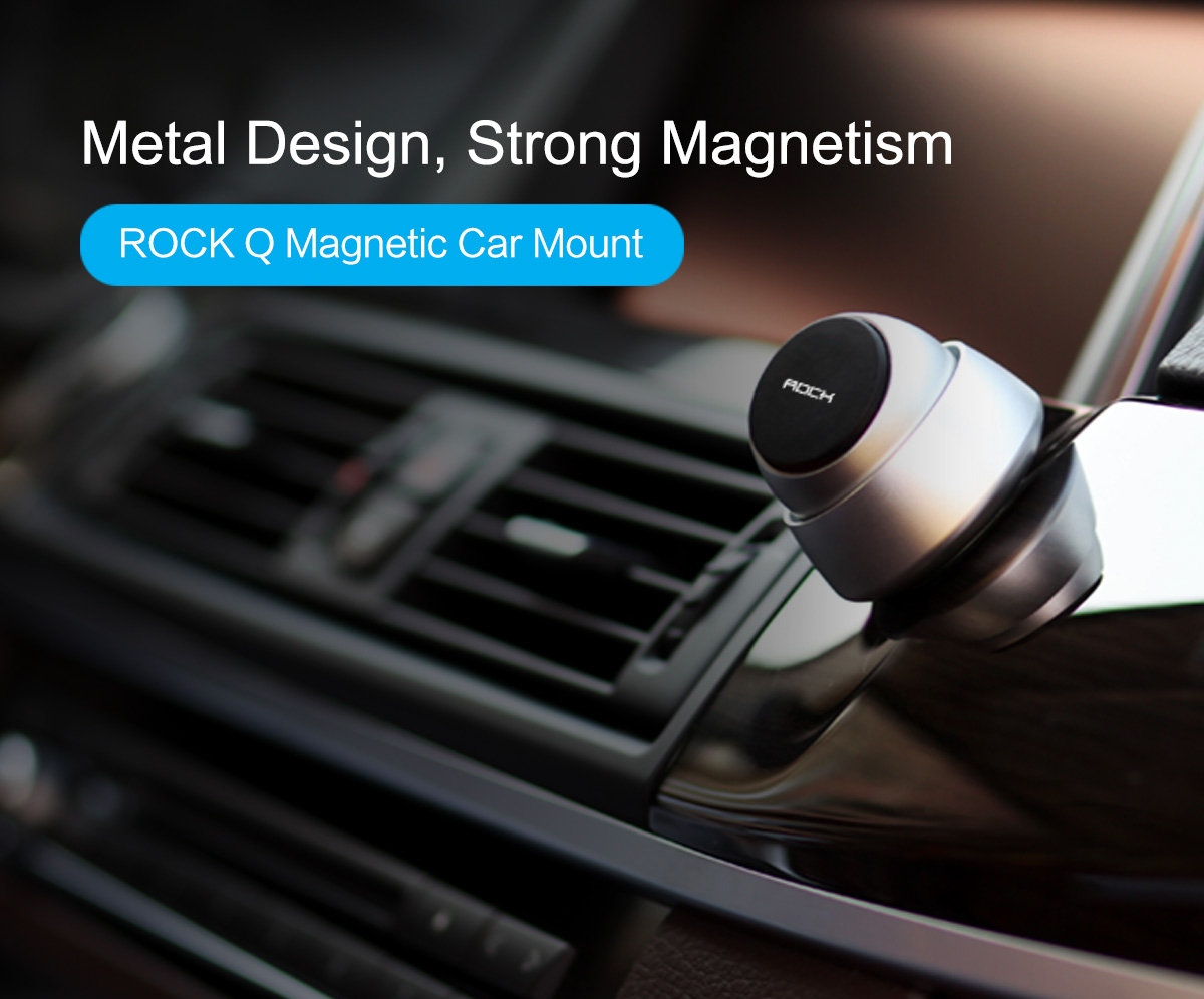 ROCK 720 Degree Rotation Strong Magnetic Aluminum Car Mount Holder for iPhone Samsung iPad GPS