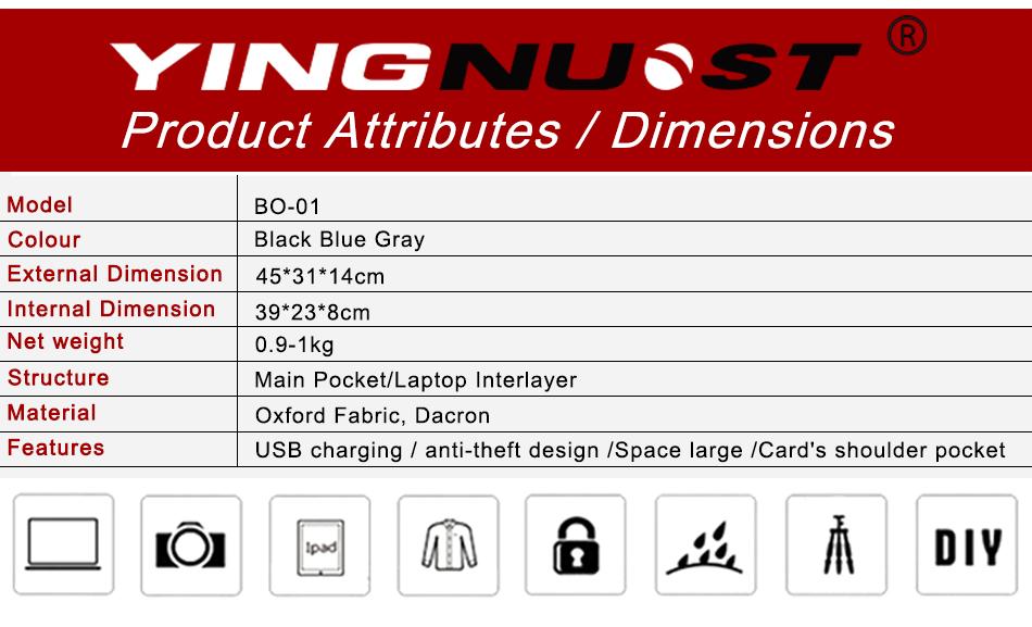 YINGNUO BO-01 Waterproof Shockproof Anti Theft Camera Laptop Outdooors Storage Bag Backpack