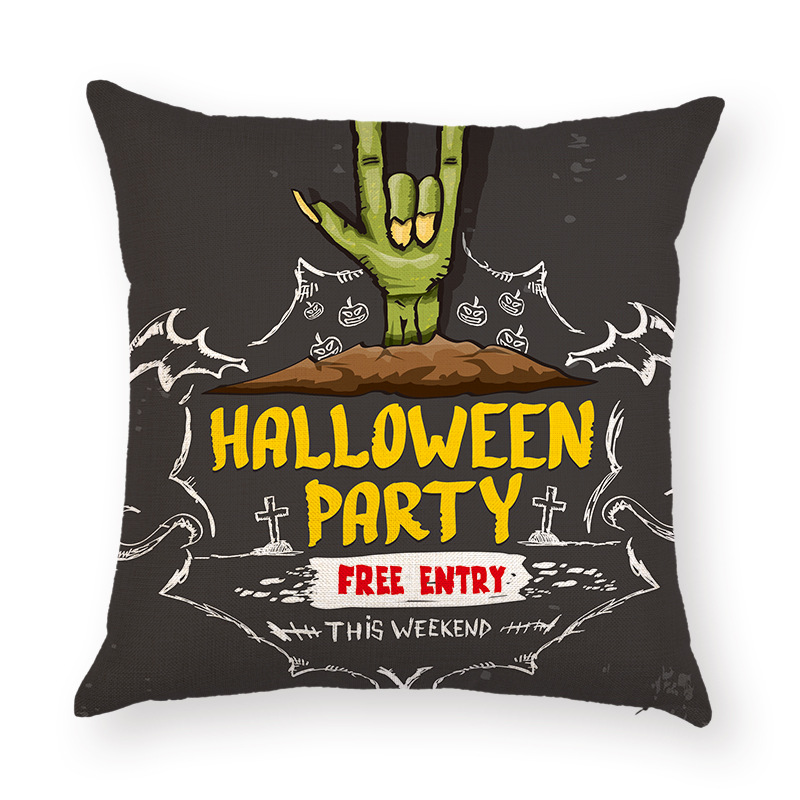 Halloween Terror Ghost Hand Pattern Pillowcase Cotton Linen Throw Pillow Cushion Cover Seat Home Decoration Sofa Decor