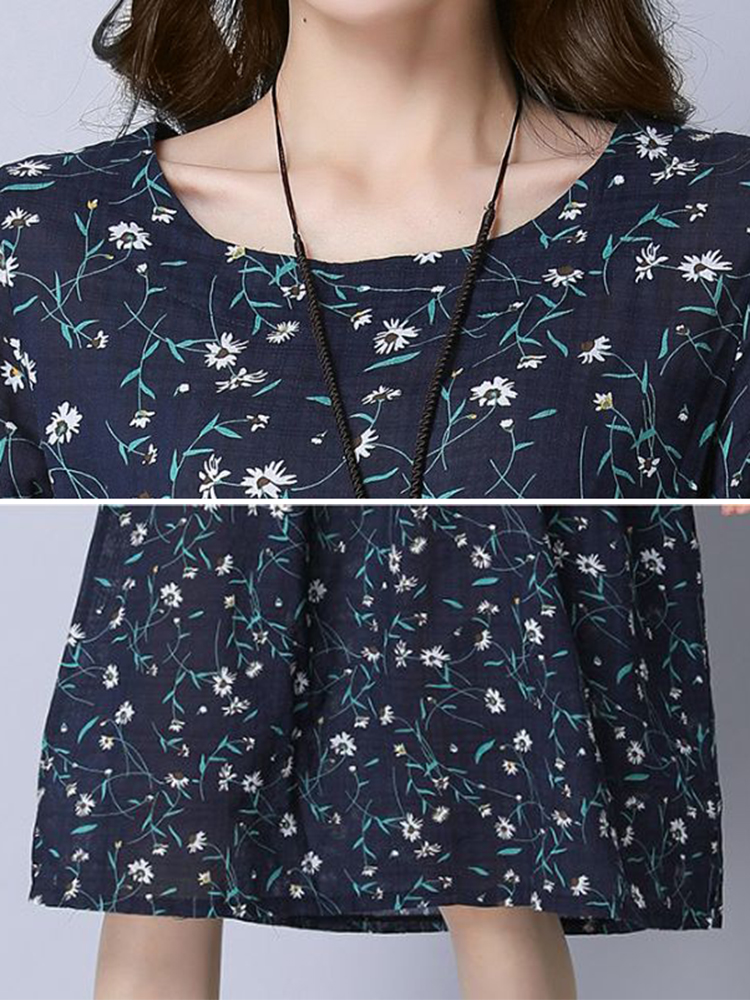 Women Cotton Floral Printed Loose Long Sleeve Dress