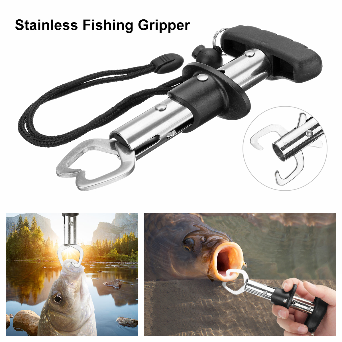 Stainless Steel Fishing Gripper Fish Lip Gripper Scale Grip Holder Boga Grabber Scale Tool