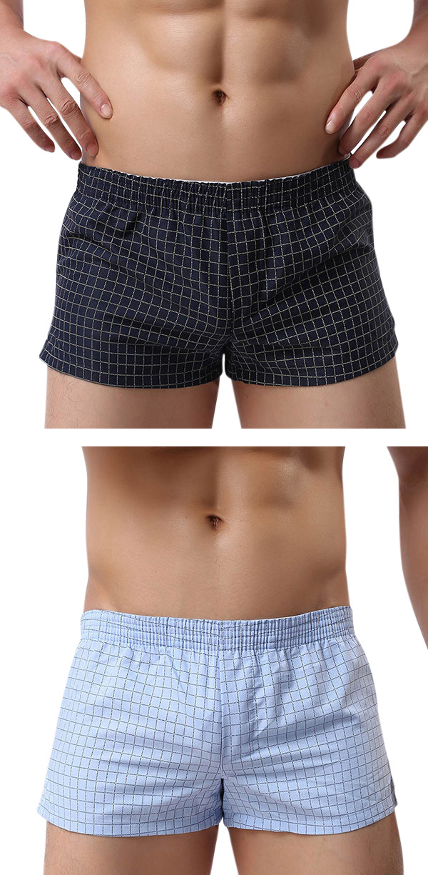 Mens Casual Home Boxers Beach Plaid Moustache Printing Shorts Outdoor Sports Sleepwear