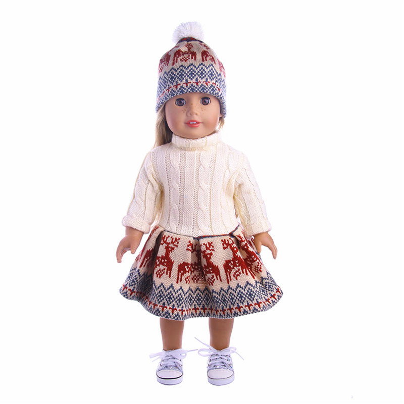18'' Doll Deer Sweater Dress Hat Clothing Set Without Reborn Baby Doll For American Girl