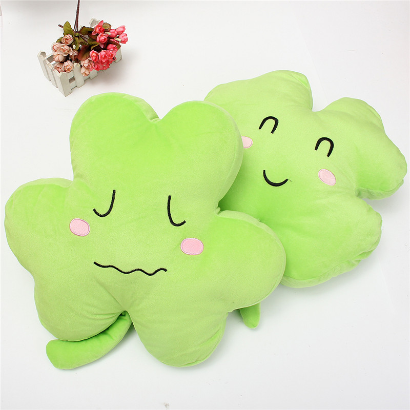 1PCS 40cm Cute Clover Shamrock Soft Stuffed Plush Toy Happy Love Ornament Soft Doll