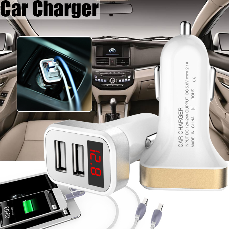 2.1A 2 USB Ports Fast Charging Car Charger With LED Display Real time Monitoring For iphone Samsung