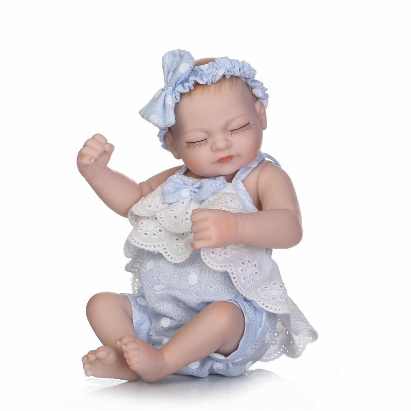 NPK 10inch Twins Reborn Baby Doll Silicone Lifelike Girl Doll Handmade Play House Toy