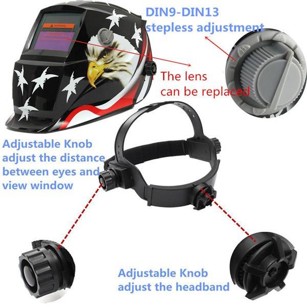 Eagle Stars Auto Darkening Welding Solar Welder Mask Helmet Electric Welding TIG MIG Welder Lens Mask Black