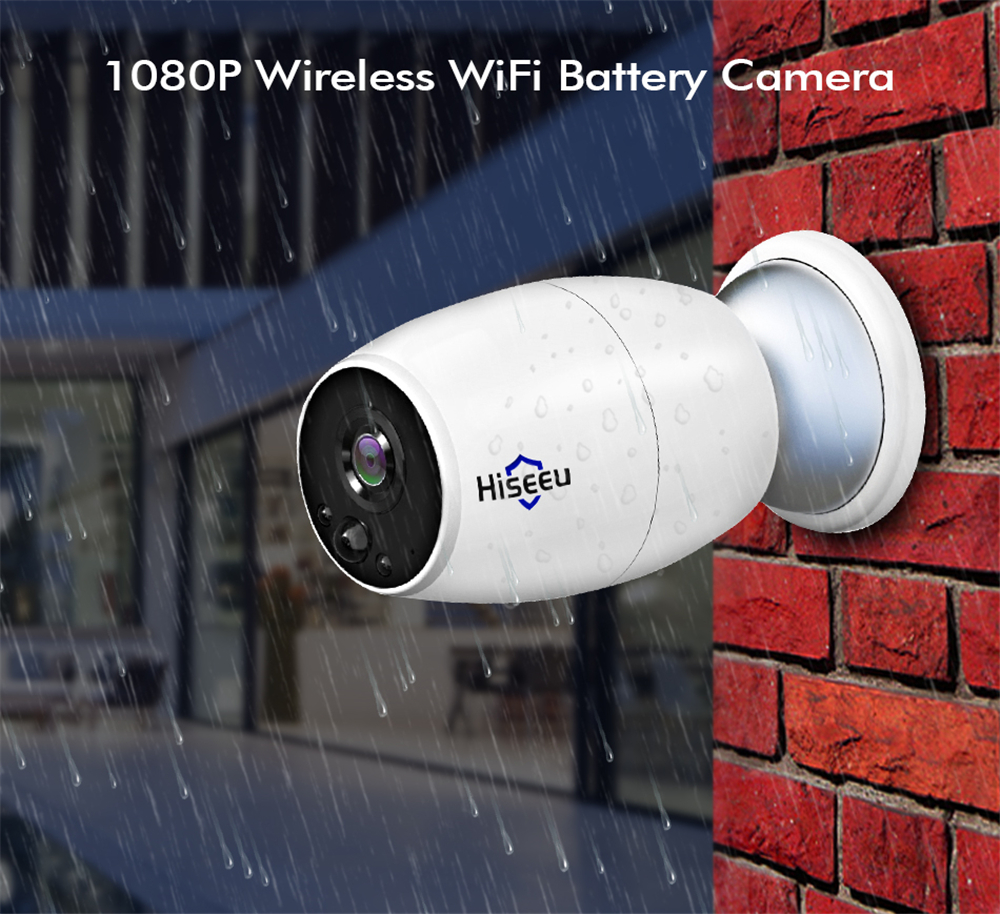 Hiseeu 1080P Rechargeable Battery WiFi IP Video Camera Full HD Outdoor Surveillance Security Camera