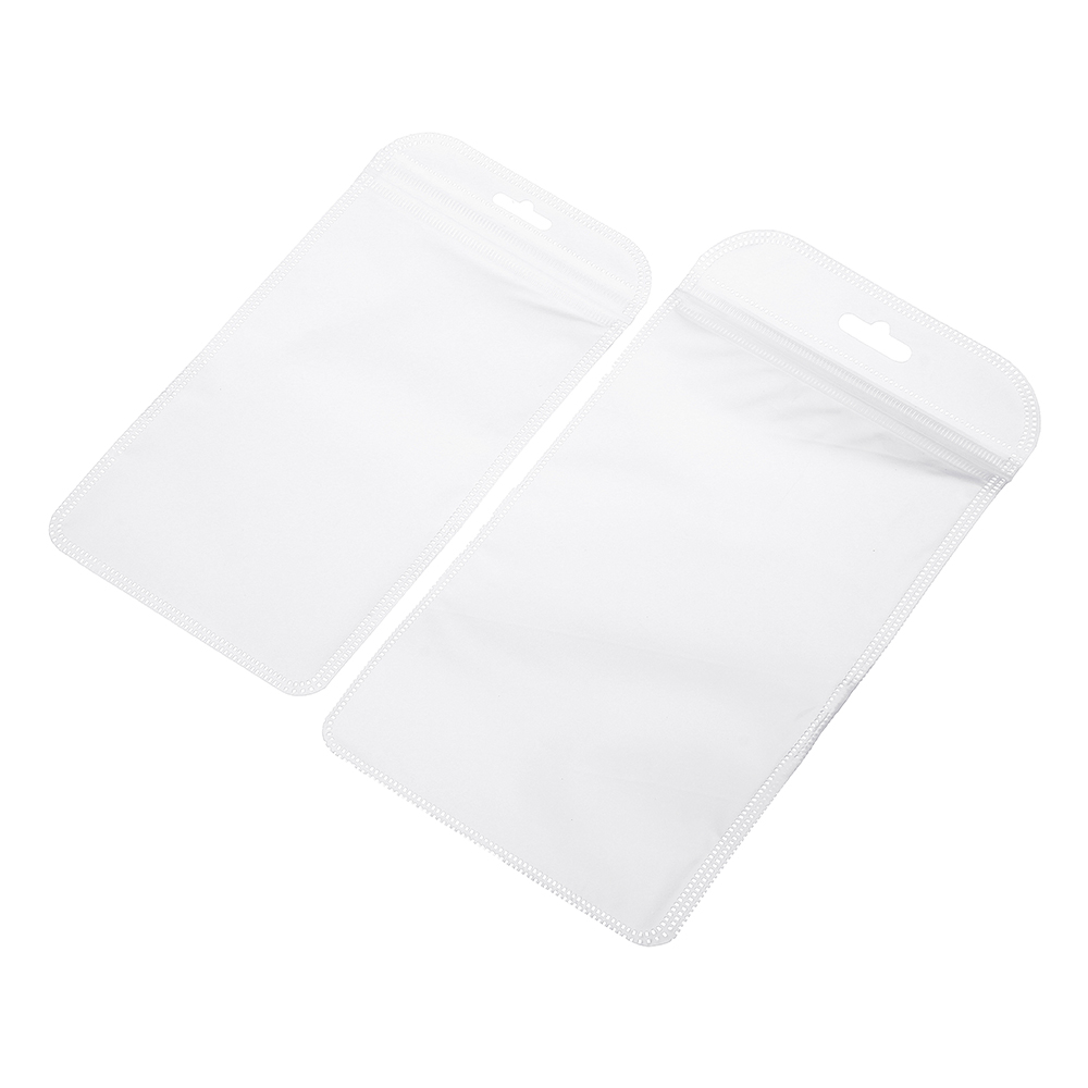 50PCS Zip Lock White Clear Plastic Packaging Bag Mobile Phone Shell Hang Hole Pouches Seal Package