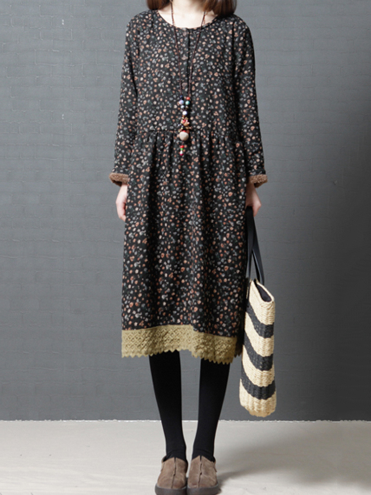 Women Floral Print Lace Patchwork O-neck Long Sleeve Dresses