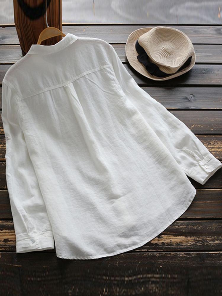 Women Cotton Lapel Adjustable Long Sleeve Button Blouse