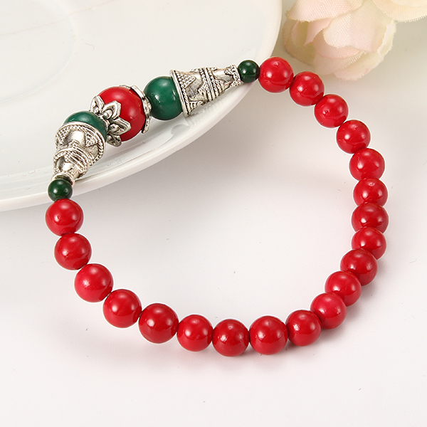 Vintage Agate Beads Silver Ethnic Style Jewelry Bracelets For Women