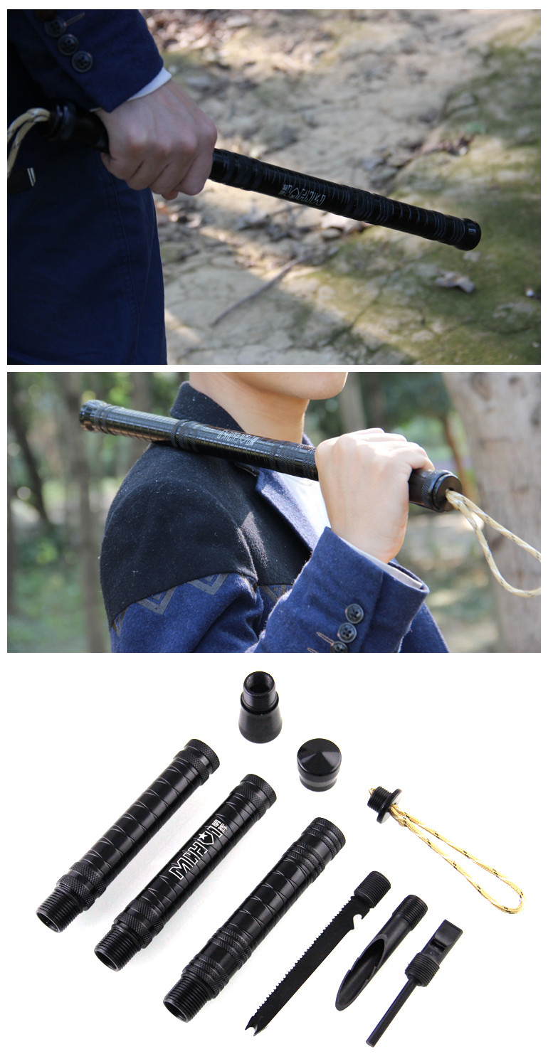 Outdoor 3-Sections Quick Self Defense Stick Camping Emergency Survival Rod Retractable Security Bar