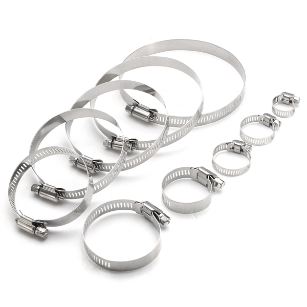10Pcs 6mm-114mm Stainless Steel Hose Pipe Clips Clamps Fasteners Assorted