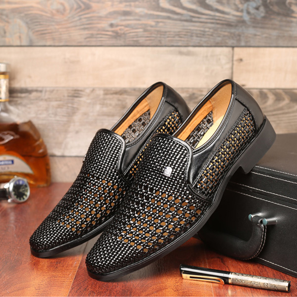 Men Breathable Hollow Outs Slip On Leather Business Shoes