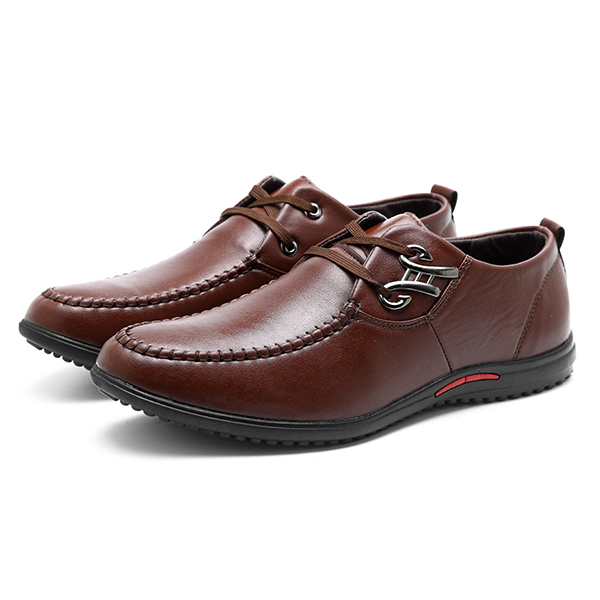 Men Breathable Leather Casual Business Lace Up Oxfords