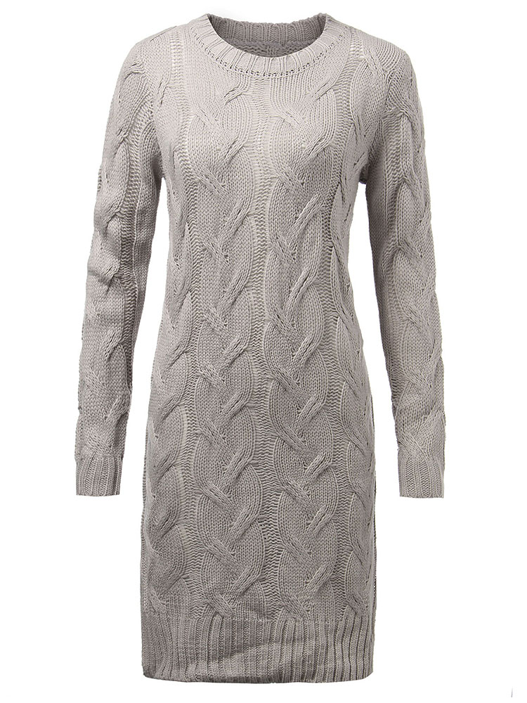 Slim Thick Jacquard Knit Gray Long Sleeve Split Women Knee-Length Dress